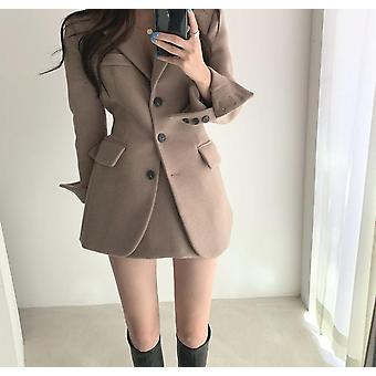 Korean Chic Winter Vintage Woolen Full Blazer Jacket + High Waist Bag, Hip
