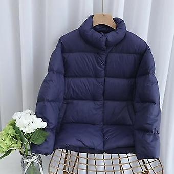Light Down Jacket, Stand Collar, Duck Down Coat, Casual Loose Winter Outwear