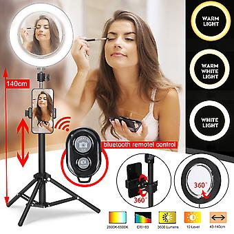 """8.66"""" Live stream trucco specchio selfie led anello luce fill-in luce con supporto cellulare telecomando (nero)"""