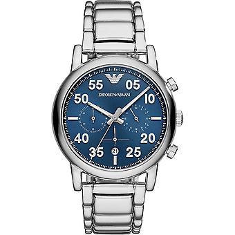 Armani Ar11132 Sininen Sunray Dial & Hopea Ruostumaton Teräs Kronografi Men's Watch