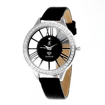 Kvinners watch så sjarm MF301-DIAMANT - svart skinn armbånd