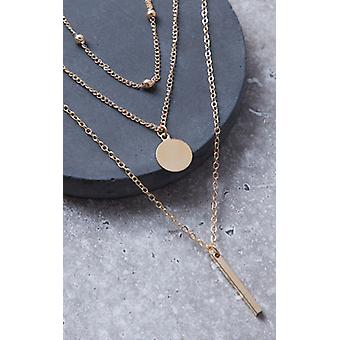 Gold Triple Layered Necklace Coin and Bar Pendant Necklace