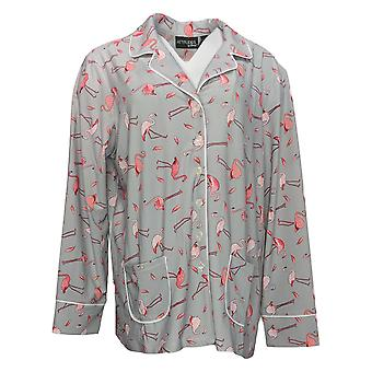 Women With Control Women's Top Jersey Button Front Printed Gray A372057