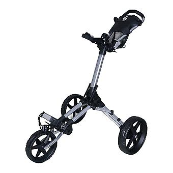 FastFold Kliq 3 Wheel Push Golf Cart Trolley Glanzend Zilver/Zwart