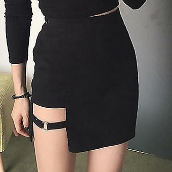 Sort hip nederdele uregelmæssig mini nederdel sommer mode høj talje