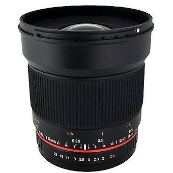 Rokinon 16m-m 16mm f/2.0 aspherical wide angle lens for canon m-mount