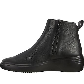 ECCO Womens Soft 7 Wedge Casual Leather Slip On Zip Up Ankle Boots - Black
