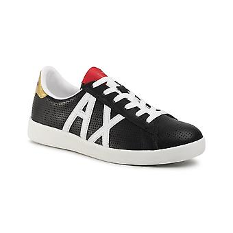 Armani Exchange Black Perforated Leather Sneaker Us21ax08 Xux016