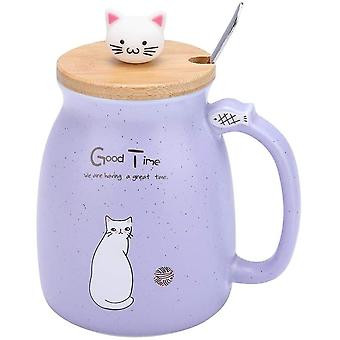 1Pc Lovely Cat Ceramic Cup with Spoon and Lid Coffee Water Milk Mug for Girls Boys Kids Children