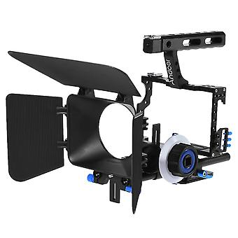 Aluminum alloy camera camcorder video cage rig kit film making system with 15mm rod matte box