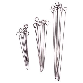 10 Piece set of outdoor stainless steel barbecue skewers