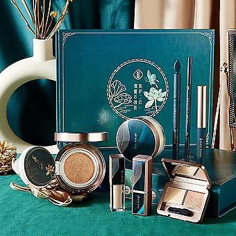 8 Piece jade makeup sets featuring bb cream, concealer, eyeliner, mascara, eye shadow, eyebrow pencil, lipstick, loose powder cosmetics