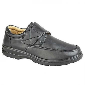 Scimitar Barney Mens Faux Leather Touch Fasten Shoes Black