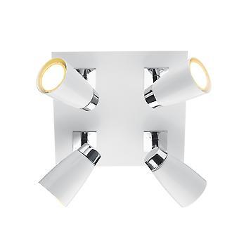 Quadratische Platte poliert Chrom & Matt Weiß, 4x GU10