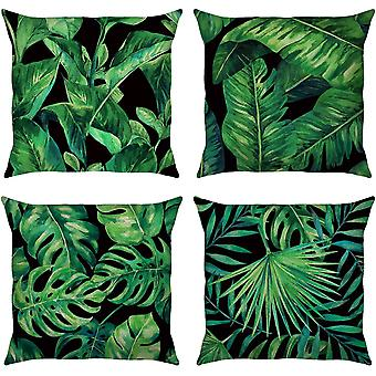 Gerui Tropical Leaves Cushion Covers 18 x 18 Inch Set of 4 Green Leaves Decorative Throw Pillow
