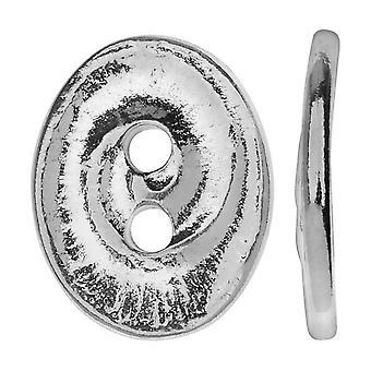 TierraCast Pewter, soikea 2-reikäinen painikepyörre 13,5x17,5mm, 1 kpl, Kirkas rhodium
