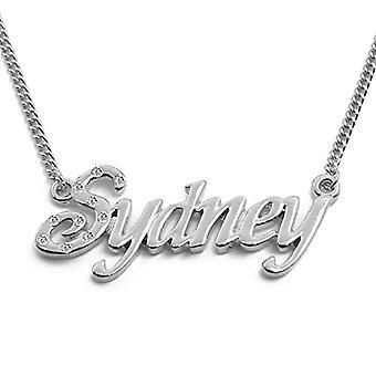 """L Sydney - 18-karat hvid forgyldt halskæde, med brugerdefineret navn, justerbar kæde af 16 """"- 19"""", i regal emballage"""