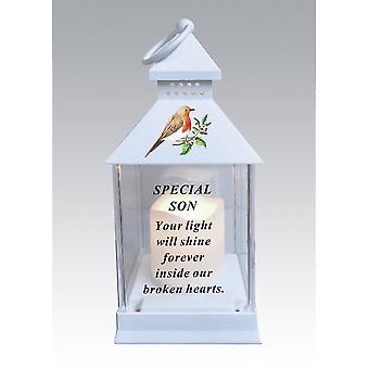 David Fischhoff Waterproof Robin Lantern With Timer 25cm - Son