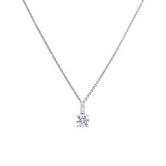 Diamonfire Womens 925 Sterling Silver Rhodium, Palladium &Platinum Plated Clear Cubic Zirconia Solitaire Colgante con Pave Set Bale Collar de longitud 40cm - 45cm