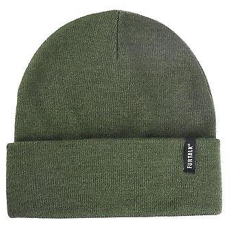 Winter gestrickte Herbst Skullies Hut, Frauen Warme Haube Mütze (dunkelgrün mit Logo)