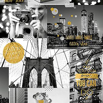 Ugepa Bright Lights Big City Gold Wallpaper L31002