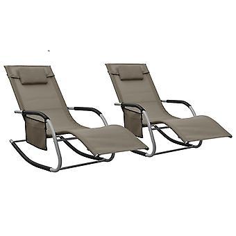 כיסאות נוח vidaXL 2 יח'. טקסטיל טאופה ואפור