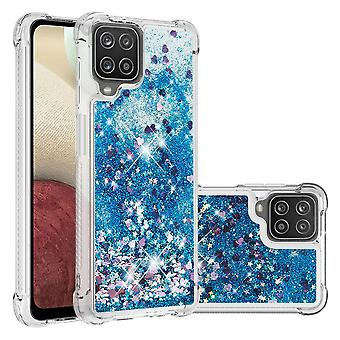 Case For Samsung Galaxy A12 Bumper Cover Sparkly Glitter Bling Flowing Liquid - Blue