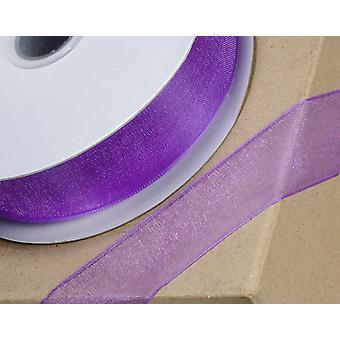 25m púrpura 38mm ancho borde tejido organza cinta para artesanías