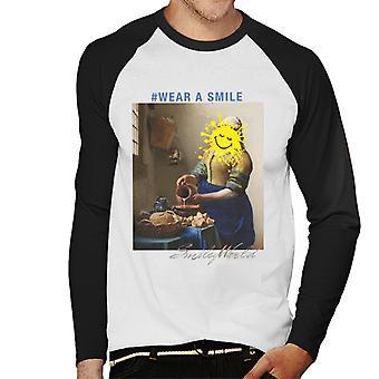 Smiley World Wear A Smile Men's Baseball Long Sleeved T-Shirt