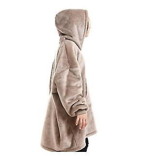 Blanket Pullover Children Can Wear Hooded Blanket Pockets(Khaki)