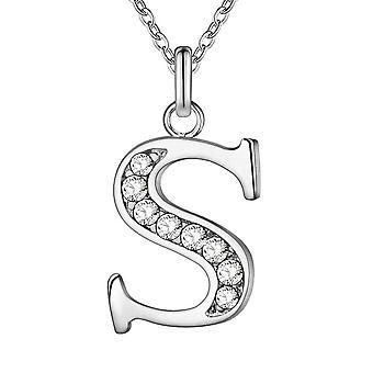 (S) Colier alfabet placat cu argint de înaltă calitate inițială 26 litere personalizate Charm Pandantiv