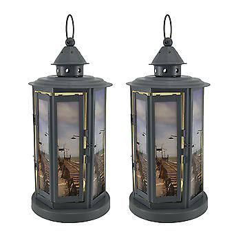 Shabby Beach Pier 2 Piece Grey Metal LED Candle Lantern Set