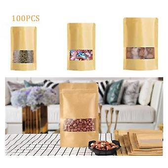 100 Zip Kraft Paper Bags With Window, Biodegradable Packaging Bag With Clear Window For Candy, Pastry, Gift