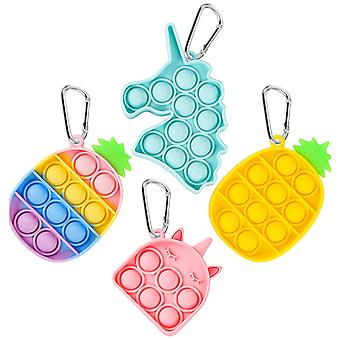 4 Pcs Mini Pop It Keychain Fidget Toy Pack, Push Pop Bubble Simple Dimple Sensory Toys, Silicone Pressure Relieving Toys, Squeeze Toys For Kids Childr