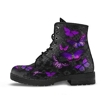Combat boots-purple butterfly shoes 101, vintage style shoes, aesthetic shoes, boho shoes
