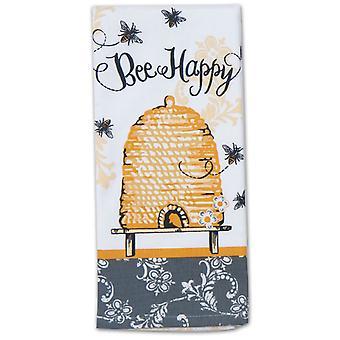 Bee Happy Yellow and Black Hive 28 Inch Kitchen Dish Tea Towel Cotton
