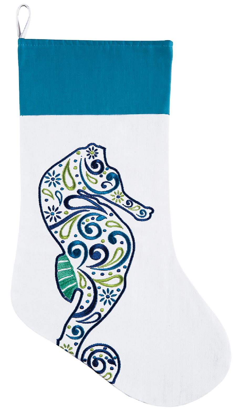 Coastal Meridian Seahorse Embroidered 20 Inch Christmas Holiday Stocking