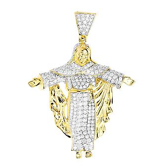 Premium Bling - 925 Sterling Silber Christus Anhänger gold