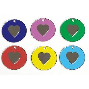 Бриллиант в форме сердца никель Tag синий