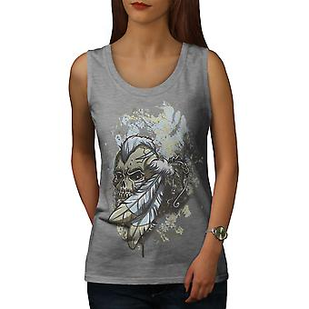 Feather Indian Dead Women GreyTank Top | Wellcoda