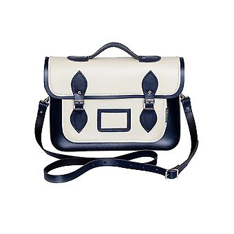Zatchels Womens Handcrafted Two Tone Leather Mag Dots Top Handle Satchel (British Made)