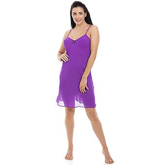 Camille Womens Purple chiffong Chemise & Wrap Set