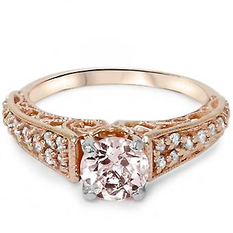1ct Morganite & Diamond Vintage inel de logodna 14K Rose Gold