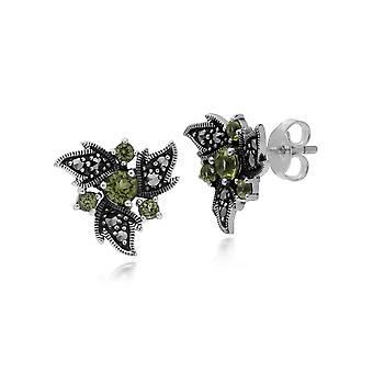 Gemondo Sterling Silver Peridot & Nouveau Marcasite Orecchini floreali