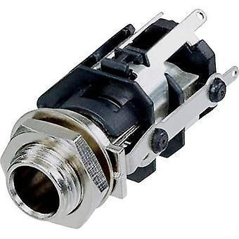 Rean AV RJ5VM-S-CON 6.35 mm audio jack Socket, vertical vertical Number of pins: 5 Stereo Black 1 pc(s)