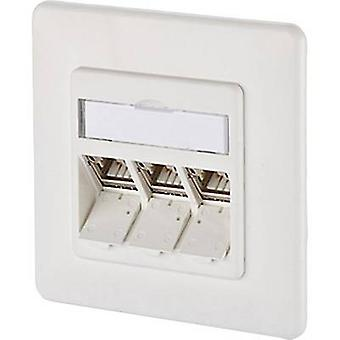 Network outlet Flush mount Insert with main panel and frame CAT 6A 3 ports Metz Connect 1309131002-E Pure white
