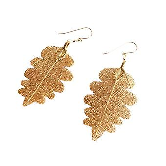 Oak leaf earrings electro plated leaf earrings earrings gold plated