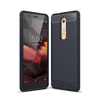 Carbono de silicona azul Nokia 5.1 cubierta ver caso de teléfono TPU parachoques