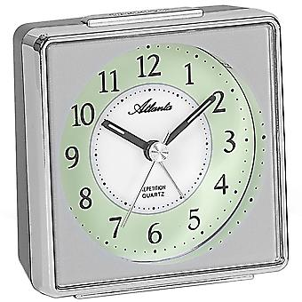 Atlanta 1934/19 alarm clock quartz silver analog quietly without ticking with light Snooze