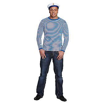 Ringelshirt langarm garngefärbt blau/weiss Streifenshirt Kostüm Unisex